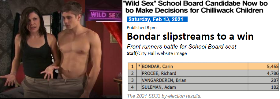 """""""Wild Sex"""" School Board Candidate Now to Make Decisions for Chilliwack Children: Bondar Wins Byelection"""